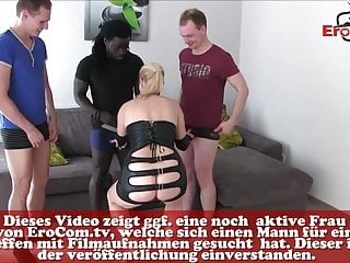 Home make fuck German blond mother make real private gangbang at home