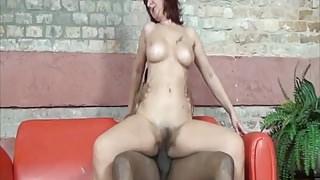 Hairy MILF enjoys big black cock
