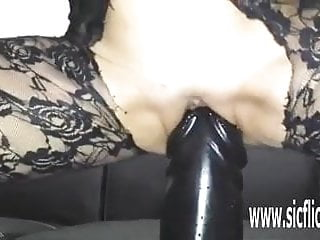 Pussy pumped to the max video - Giant dildo stretches her greedy pussy to the max