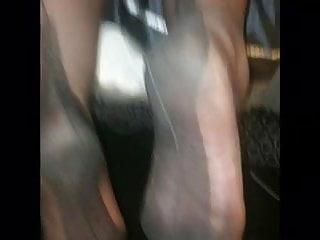Teen stocking foot Nylon stocking foot job