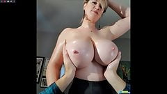 Lana Kendrick lucky man touching her beautiful big boobs