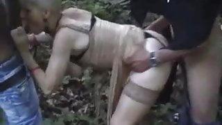French slutty granny gangbanged outdoors