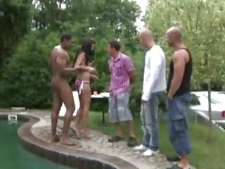 Anal sex in the pool Dp brunette near the pool