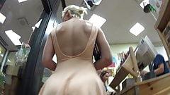 Stunning blonde upskirt, no panties, no bra!