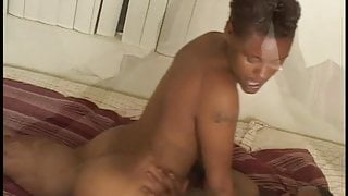 Horny ebony chick gets her tight black pussy banged before sucking for cumload