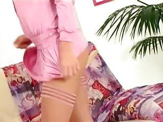 Lingerie heel stocking Petite blonde masturbates in stockings and heels