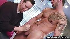 Tattooed muscle jock Manuel Deboxer wanking off huge cock