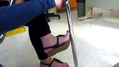 sexy teen girl showing of her sexy feet in class