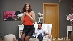 MOM Big tits Russian MILF Anna Polina in sexy stockings with