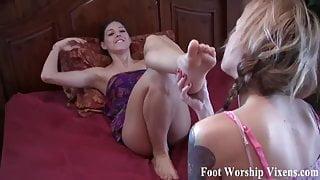 Sadie makes Bella worship her sexy feet