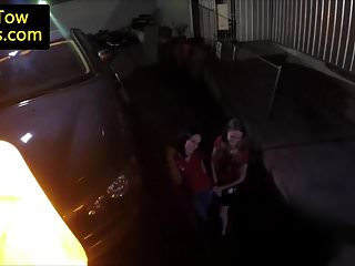 Woman with tow pussies - Stranded girls railing tow truck driver cock