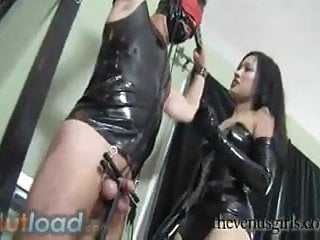 Snapping pussy that has penis trapped Hot asian mistress has her slaves cock trapped in a pillory