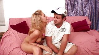 Petite blonde's pussy gets pounded on the sofa hardcore