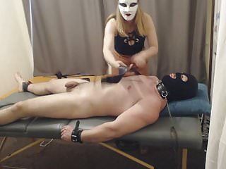 Tickle pee Ballbusting handjob and cbt, tickling