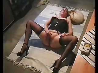 Male fashion gay Cum on table in fully fashioned nylons