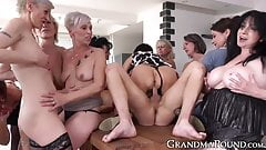 Adorable grannies hard pounded and cum sprayed at wild orgy