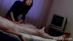 Amateur massage with handjob in hotel