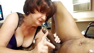Granny Handles Young Black Man's Cock Sensually. Gilf Needs BBC