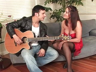 Fucking brunette hot milfs Hot brunette milf cougar in stockings fucks younger guy