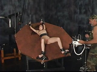 Twilight sexual restraint paradoxically Slave gets bound to a wheel with restraint cuffs gets pussy play with mistress