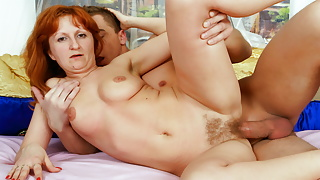 Hairy Ginger Mature StepMom Seduces Stepson for Rough Fuck