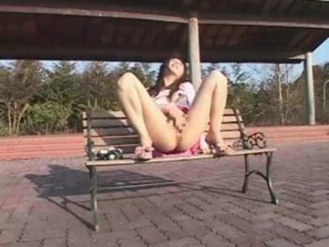 Asian girl masturbates in public