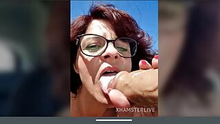 Sexy redhead french mature close up pussy fingering squirt