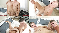Jacob drops to his knees & swallows Bruno's thick cock