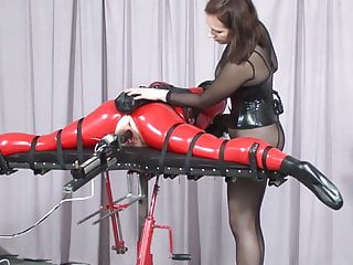 Latex screed - Bdsm fucking machine.