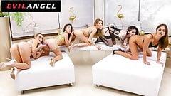 EvilAngel - 5 Girl Fisting & Gaping Lesbian Orgy Train