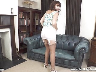 All in one open bottom girdle Brunette milf in vintage girdle nylons legs open pussy play