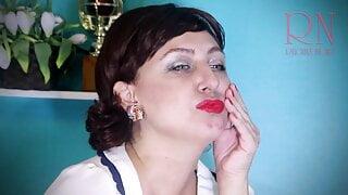 Red lipstick kissing teasing by Regina Noir. retro vintage