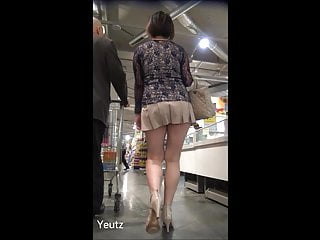 High heal short skirt pussy Asian milf ultra-short skirt walking in parking