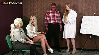 Medical femdoms blow sub in this very kinky cfnm group scene