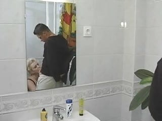 Granny slut handjobs - Bbw-granny-slut fucked on toilette by 2 guys