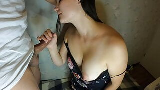 HOT TURKISH wife swallowing all cum