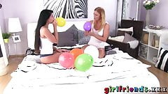 Girlfriends Hot redhead and busty babe plan a surprise