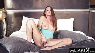 Hot brunette wears lingerie that leaves her plump pussy bare