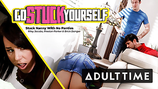 Secretly Fucking The Stuck Nanny's Tight and Wet Pussy