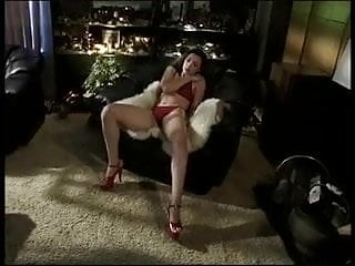 Concession ice shaved trailer used Brunette in red uses dildo to fuck her neatly shaved cunt indoors at night