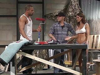 Construction worker big tits Jennifer fucks two randy construction workers