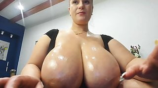 Huge Oiled Up Natural Tits