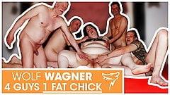Swinger orgy! Fat slut enjoys 3 hard cocks! WolfWagner.com