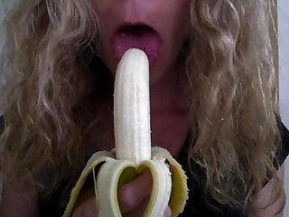 Banana in cock - Girl sucking banana, wishing it was a hard cock pt 2