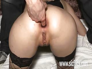 Ass dildo his Fisting and fucking his gfs ass with a huge bottle