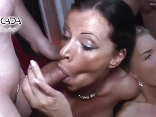 Young girls that swollow cum - 2 young girls vs. 1 milf gangbang