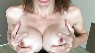 Busty Mistress will teach you how to jerk off and eat cum