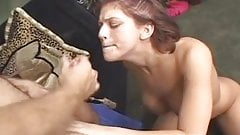 Redhaired girl likes to have it in her mouth and on her tits