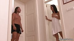 Granpa fucks brunette hottie after shower