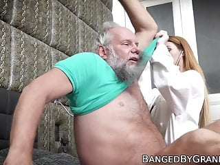 Big penis issues - Young doctor babe cures all of grandpas issues with pussy